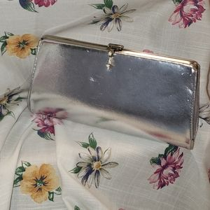 Vintage silver patent leather clutch